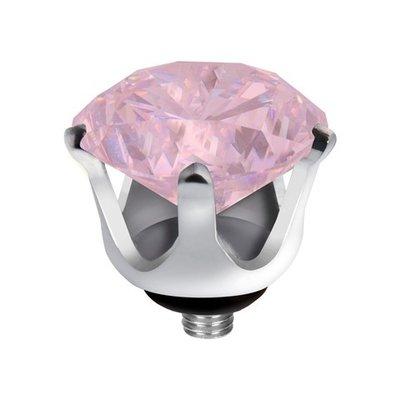 Melano Twisted Crown Edelstaal Meddy Zilverkleurig Milk Pink