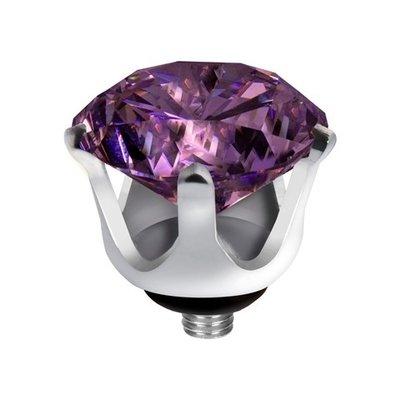 Melano Twisted Crown Edelstaal Meddy Zilverkleurig Purple