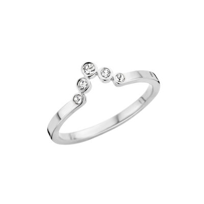 Melano Friends Ring Silver coloured Pointed Zirkonia Crystal