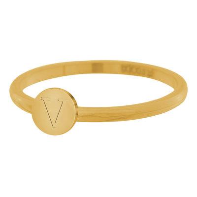 iXXXi Letter Ring 2mm Edelstaal Goudkleurig V