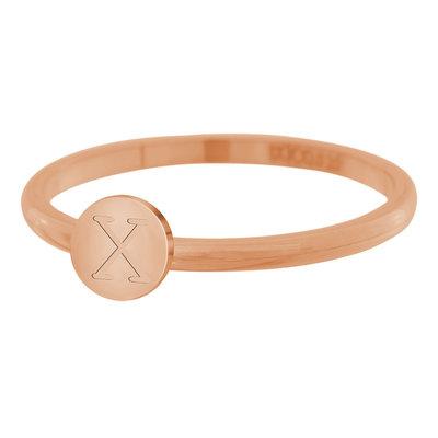 iXXXi Letter Ring 2mm Edelstaal Rose Goudkleurig X