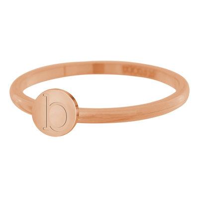 iXXXi Letter Ring 2mm Edelstaal Rose Goudkleurig B