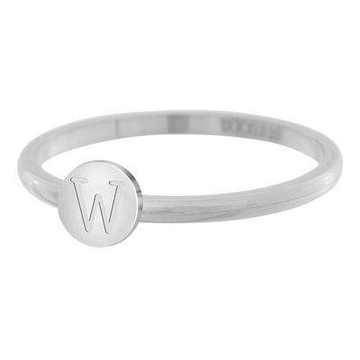 iXXXi Letter Ring 2mm Edelstaal Zilverkleurig W