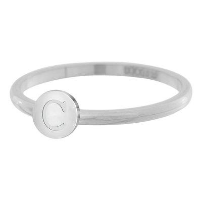 iXXXi Letter Ring 2mm Edelstaal Zilverkleurig C