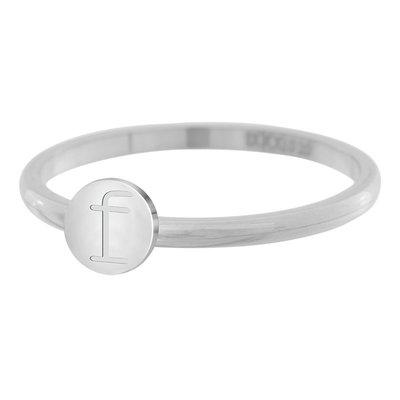 iXXXi Letter Ring 2mm Edelstaal Zilverkleurig F