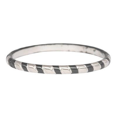 iXXXi Ring 2mm Rope Edelstaal Zilverkleurig en Zwart