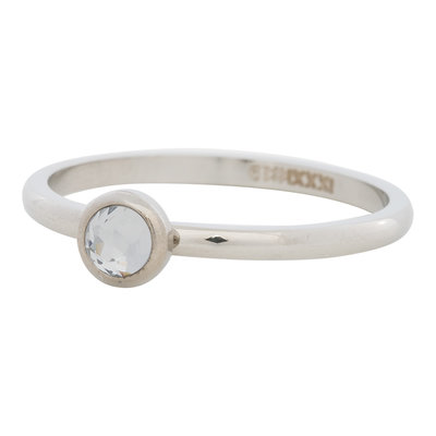 iXXXi Ring 2mm Edelstaal Zilverkleurig Natuursteen White