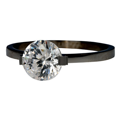 iXXXi Ring 2mm Edelstaal Zwart Glamour Stone Crystal