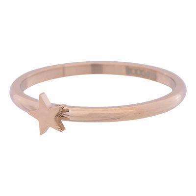 iXXXi Ring 2mm Edelstaal Rose Goudkleurig Ster