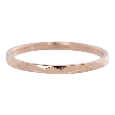 iXXXi Ring 2mm Edelstaal Rose Goudkleurig Small Hamerslag