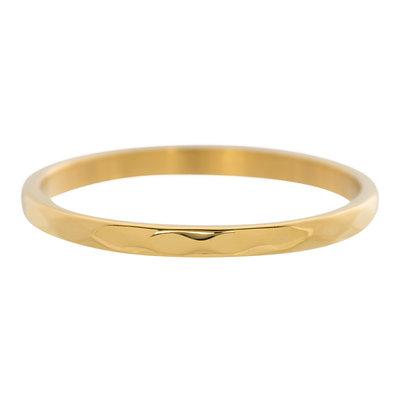 iXXXi Ring 2mm Edelstaal Goudkleurig Small Hamerslag