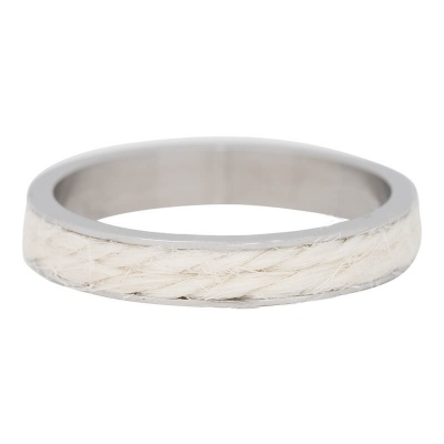 iXXXi Ring 4mm Edelstaal Zilverkleurig White Rope
