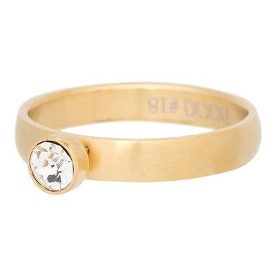 iXXXi Ring 4mm Edelstaal Mat Goudkleurig Diamant Zirkonia Crystal