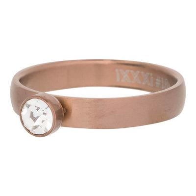 iXXXi Ring 4mm Edelstaal Mat Bruin Diamant Zirkonia Crystal