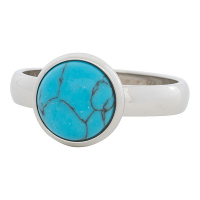 iXXXi Ring 4mm Edelstaal Zilverkleurig 12mm Turquoise