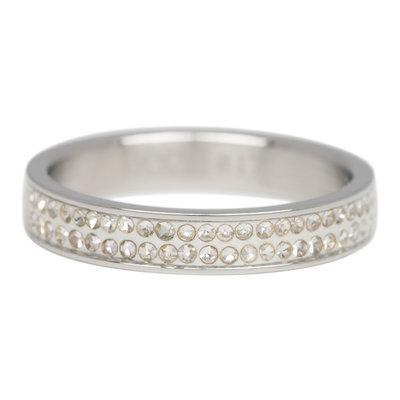 iXXXi Ring 4mm Edelstaal Zilverkleurig Double Zirkonia