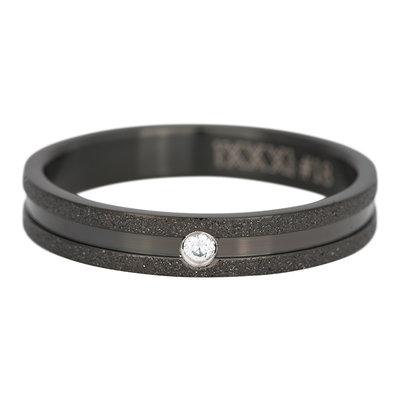 iXXXi Ring 4mm Edelstaal Sandblasted Zwart Zirkonia Crystal