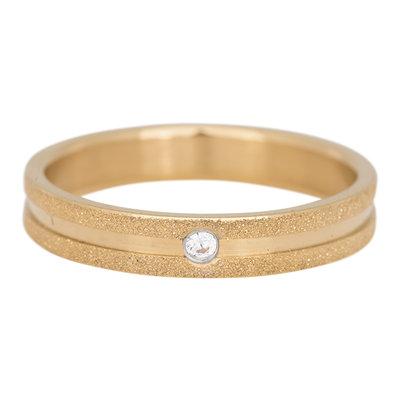 iXXXi Ring 4mm Edelstaal Sandblasted Goudkleurig Zirkonia Crystal