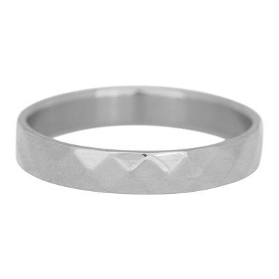 iXXXi Ring 4mm Facet Edelstaal Zilverkleurig