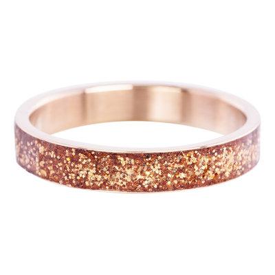 iXXXi Ring 4mm Edelstaal Glitter Rose Goudkleurig