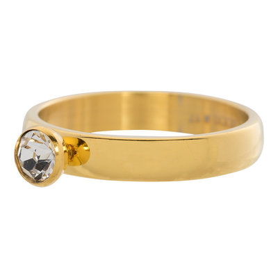 iXXXi Ring 4mm Edelstaal Goudkleurig Diamant Zirkonia Crystal