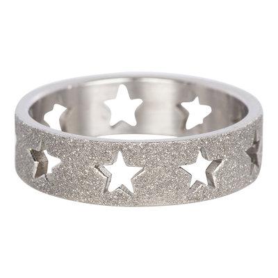 iXXXi Ring 6mm Zilverkleurig Open Stars Sandblasted