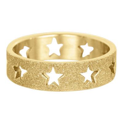 iXXXi Ring 6mm Goudkleurig Open Stars Sandblasted