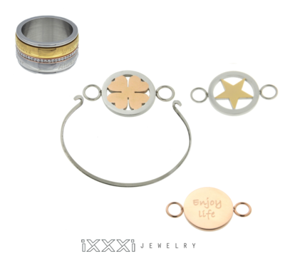 iXXXi Ring en Armband Combinatie  inclusief 3 iXXXi Bangle Meddy's naar keuze
