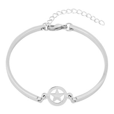 iXXXi Edelstaal Spang armband Ster Zilverkleurig 17cm - 20cm