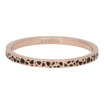 iXXXi Ring 2mm Edelstaal Spots Rose Goud-kleurig