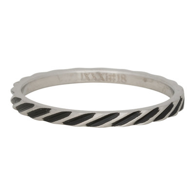 iXXXi Ring 2mm Edelstaal Slenting Stripes Zilver-kleurig