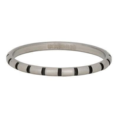 iXXXi Ring 2mm Edelstaal Stripes Zilver-kleurig