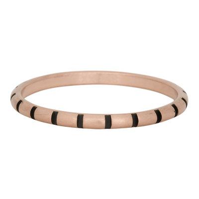 iXXXi Ring 2mm Edelstaal Stripes Rose Goud-kleurig