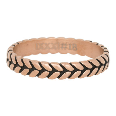 iXXXi Ring 4mm Edelstaal Leaf Knot Rose Goud-kleurig