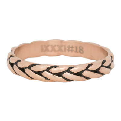 iXXXi Ring 4mm Edelstaal Wheat Knot Rose Goud-kleurig