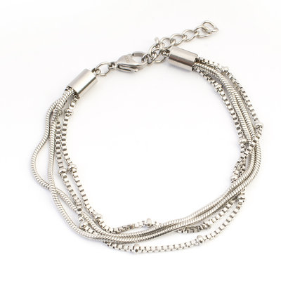 iXXXi Edelstaal armband Snake Knot Zilver-kleurig 17cm - 20cm