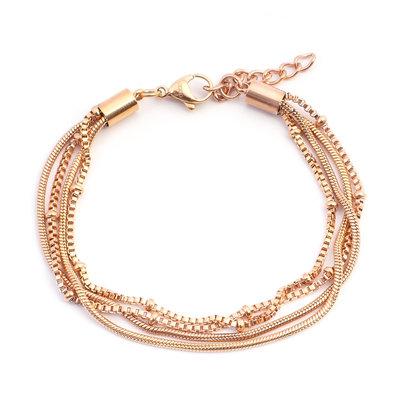 iXXXi Edelstaal armband Snake Knot  Rose Goudkleurig 17cm - 20cm