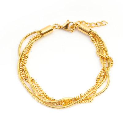 iXXXi Edelstaal armband Snake Knot Goud-kleurig 17cm - 20cm
