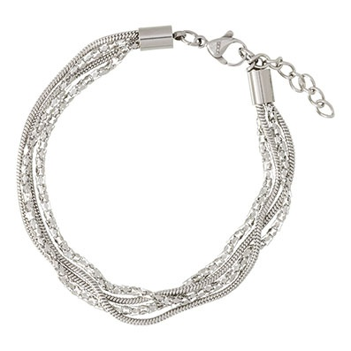 iXXXi Edelstaal armband Snake & Popcorn Zilver-kleurig 17cm - 20cm