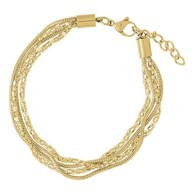 iXXXi Edelstaal armband Snake & Popcorn Goud-kleurig 17cm - 20cm