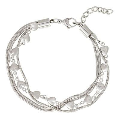 iXXXi Edelstaal armband Snake & Heart Zilver-kleurig 17cm - 20cm