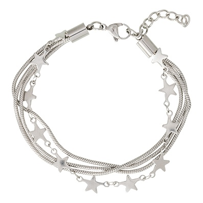 iXXXi Edelstaal armband Snake & Star Zilver-kleurig 17cm - 20cm
