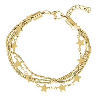 iXXXi Edelstaal armband Snake & Star Goud-kleurig 17cm - 20cm