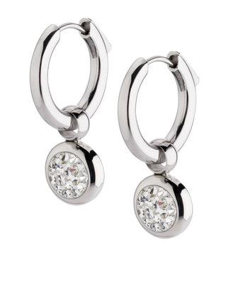 Melano Gina Oorbelhangers Edelstaal Zilverkleurig Zirkonia Crystal incl Creolen