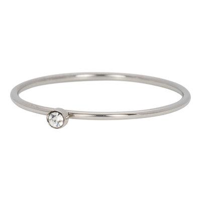 iXXXi Ring 1mm Zilverkleurig Zirkonia 1 Stone Crystal
