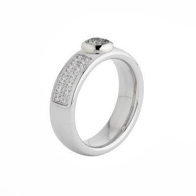 Melano Vivid Edelstaal Ring Zilverkleurig Vicky Zirkonia Crystal 6mm breed