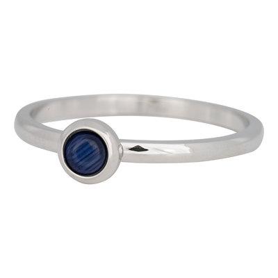 iXXXi Ring 2mm Edelstaal Zilverkleurig Natuursteen Navy Blue
