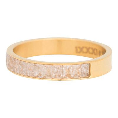 iXXXi Ring 4mm Edelstaal Snow Glitter  Goudkleurig