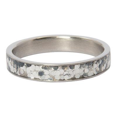 iXXXi Ring 4mm Glitter Confetti  Zilverkleurig