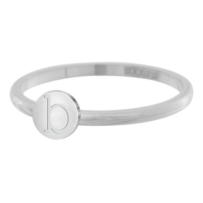 iXXXi Letter Ring 2mm Edelstaal Zilverkleurig B
